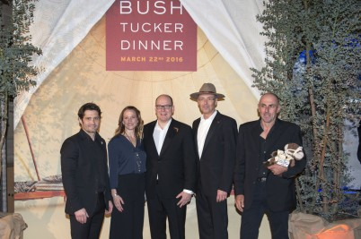 HSH Prince Albert II accompanied by Celine Cousteau, Bixente Lizarazu, Robert Calcagno and Frank Bruno at Bush Tucker Dinner @M.Dagnino